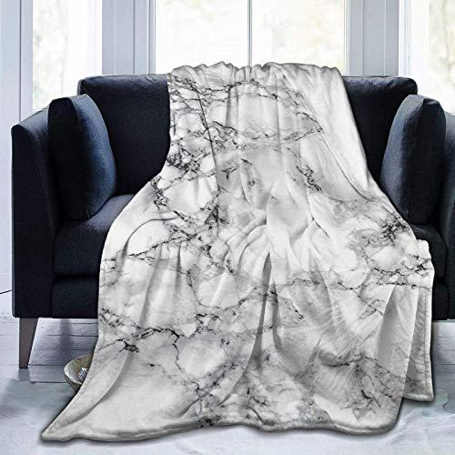 Manta de forro polar de mármol blanco ultra suave para sofá o cama manta cálida para todas las estaciones del sofá