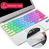 Lapogy[2pcs] Premium Ultra Thin Keyboard Cover Skin for ASUS Chromebook Flip C434TA-DSM4T 2-in-1 Laptop 14' Touchscreen,C434,C434TA/C425TA/C433TA,ASUS C434TA Accessories(Clear) Rainbow+TPU