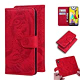 LMFULM® Hülle für Samsung Galaxy M31 / SM-M315 (6,4 Zoll) PU Leder Magnet Brieftasche Lederhülle Tiger Drucken Flip Cover Ledertasche Stent-Funktion Rot