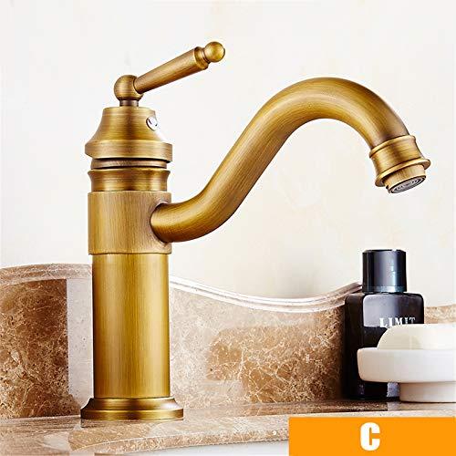 Meowstic® Bad Wasserhahn, Antikes Messing Mischbatterie, Hoher Auslauf Wasserhahn Einhebel Badarmatur Waschbeckenarmatur Waschbecken (C)