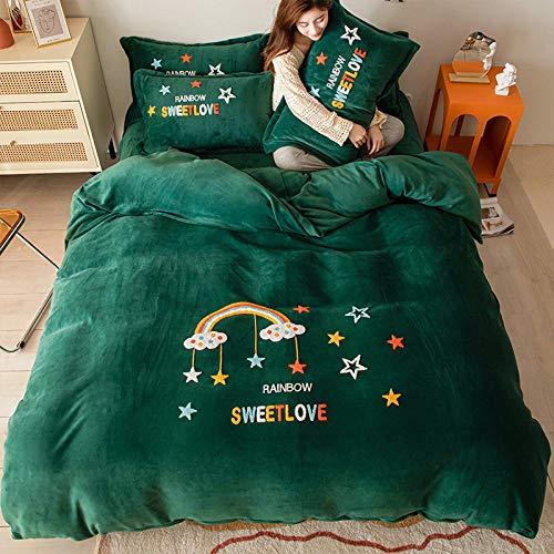 Funda Nordica Cama 150/135 Microfibra-Invierno leche terciopelo sábana de cama de cuatro piezas funda nórdica de terciopelo de cristal sábana funda de almohada ropa de cama de regalo-GRAMO_Cama de 1,