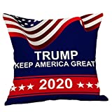 RMHS 18x18 Inch Premium Donald Trump 2020 Keep America Great Patriotic Square Linen Burlap Throw Pillow Case with Zipper, Decorative Pillow Cover for Couch, Car, Bedrooms and Sofas, 1 PCS Blue
