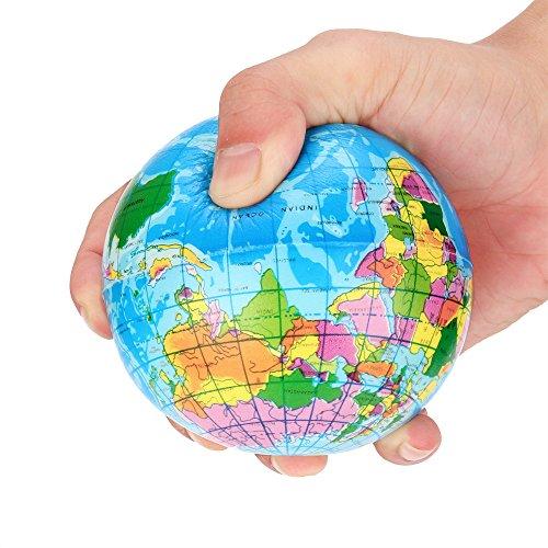 HTGEWGIR 60mm Stress Relief World Map Foam Ball Atlas Globe Palm Ball Planet Earth Ball (A)