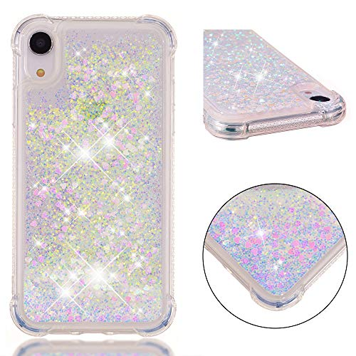 iPhone XR Liquid Glitter Phone Case, iPhone XR Waterfall Glitter Case, 3D Bling Glitter Quicksand Liquid Floating Sparkle Gel Rubber Silicone TPU Shockproof Back Case Cover for iPhone XR