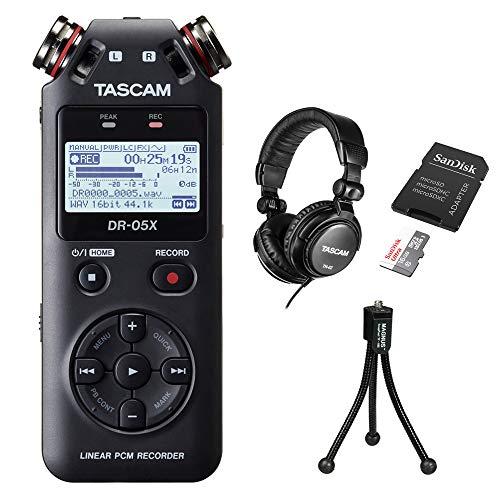 Tascam DR-05X Stereo Handheld Digital Audio Recorder with Tascam TH-02 Studio Headphones (Black), 16GB microSDHC + SD Adapter & Tripod Bundle