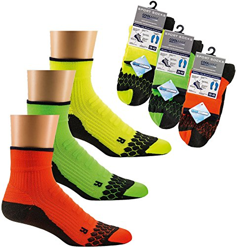 socksPur SOCKS PUR COOLMAX Neon-Sneakers- Sport-Socken mit Spezial-Polstern 1 PAAR (43-46, neon-grün)