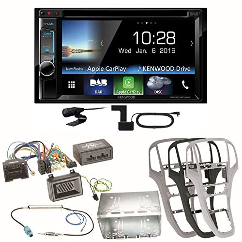 Kenwood DDX-8016DABS Carplay Digitalradio CD DVD USB Bluetooth DAB+ Moniceiver Einbauset kompatibel mit Opel Astra J, Farbe der Radioblende:Platin-Silber