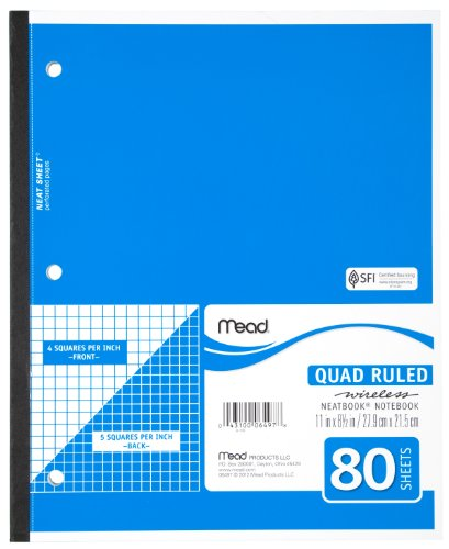 Mead Notebook, Wireless, 1 Subject, Quad Ruled, 8-1/2' x 11', 80 Sheets, Neatbook, Assorted Colors, Color Will Vary (06497)