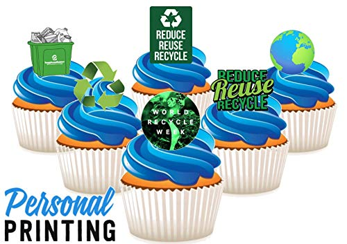 PP - Recycle Week 6 Mix 12 Eetbare Stand up Premium Wafer Card Cake Toppers Decoraties