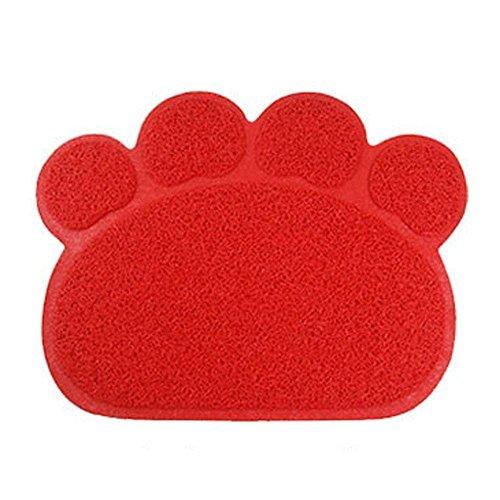 Hunde Vorleger Matte Pad,KINGCOO Katzentoilette Matratze Haustier-Tischset Platzmatte Tischmatte für Hunde Katzen,30X40CM Kleine Elastische PVC Pfote Desig (Rot)