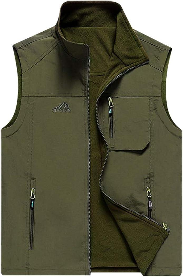 Hixiaohe Men's Reversible Outdoor Travel Full Zip Multi-Pockets Fleece Vest