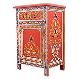 Generisch Cómoda roja de madera maciza pintada a mano, altura de 68 cm, 1 cajón y 1 puerta, aparador marroquí antiguo, auténtica artesanía de Marruecos, 100126