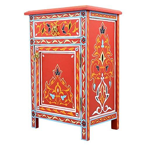 Orientalische Kommode Rot Vollholz Handbemalt H 68 cm 1 Schublade 1 Tür | Antik Vintage Marokkanische Sideboard Anrichte | Echtes Kunsthandwerk aus Marokko | 100126