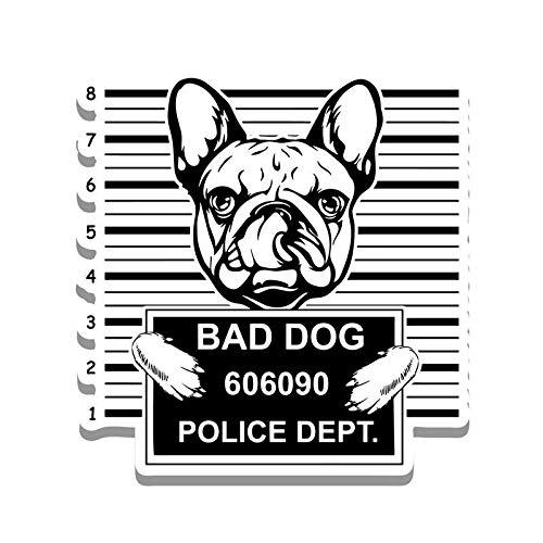 Bad Dog French Bulldog Jail Funny Cute Vinyl Decal Sticker - Car Truck Van SUV Window Wall Cup Laptop - One 5.25 Inch Decal - MKS0870