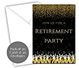 Retirement Party Invitations | Retired Invites Cards | 20 Count with Envelopes Black & Gold | Join us Your are Invited Fill in Style | Happy Retirement Celebration