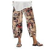 Pantalones Mujer Tallas Grandes Algodón Y Lino Color Sólido Casuales Sueltos Pantalones De Playa Elásticos Cintura Alta Verano