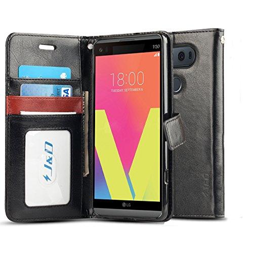 J&D Case Compatible for LG V20 Case, [Wallet Stand] [Slim Fit] Heavy Duty Protective Shock Resistant Flip Cover Wallet Case for LG V20 Wallet Case - Black