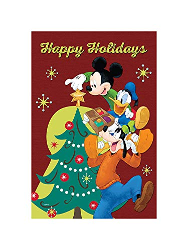 Flagology.com, Disney, Mickey Mouse, Holidays are a Time for Friends, Christmas, Outdoor/Indoor, Exclusive Premium Fabric, Printed on Both Sides, Officially Licensed Disney (12.5' x 18')