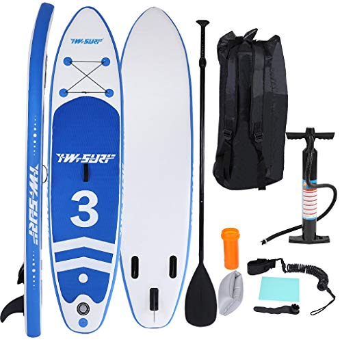 10FT Inflatable Super Stand Up Paddle Board(6 IN Thick), Durable Standing Boat with Great SUP Accessories & Backpack | Wide Stance, Three Fins for Excellent Tracking, Surf Control[From US] (Blue)