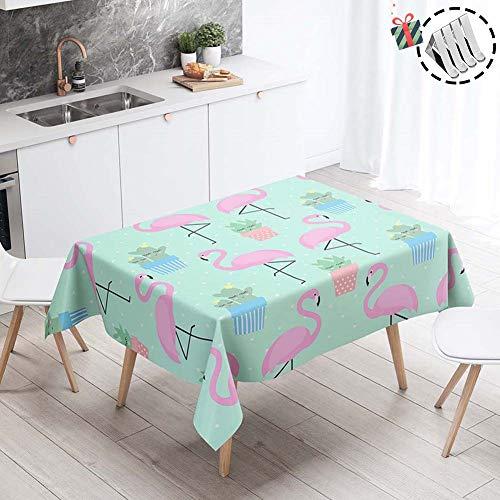 Stillshine Manteles para Mesas de Salon o Cocina, Cuadrada/Rectangular Impermeable Antimanchas 3D Estampado Mantel para Fiesta Balcón Jardín Casa Interiores (Flamenco rosa,60x60cm)