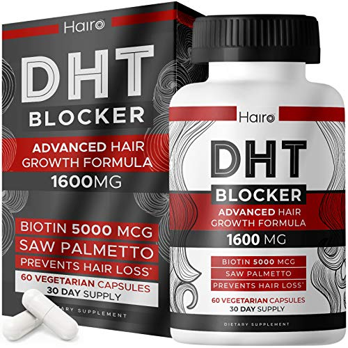 DHT Blocker Hair Growth Supplement - Support Hair Regrowth & Reduce Hair Loss Patterns - Rich in Vitamins and High Potency Biotin & Saw Palmetto - Helps Men and Women to Stimulate Hair Follicle Growth - Works with All Hair Types