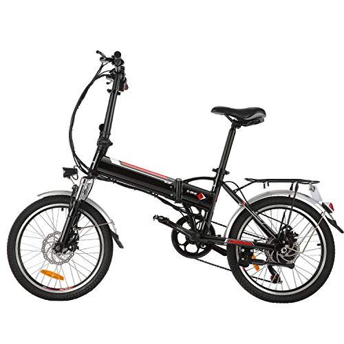 BIKFUN Faltbares Elektrofahrrad, 20 Zoll E-Bike, 36V 8Ah Lithium-Akku, 250W Motor, 7 Gang, 20 Meilen Pedelec (Schwarz)