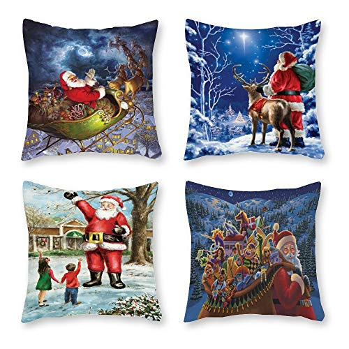 Yilooom Set van 4 18 x 18 inch Starry Night Santa Claus and Reindeer Deliver Merry Christmas to All Canvas Square Throw Kussenset Cushion Covers for Bed Cake Christmas Holiday Decor