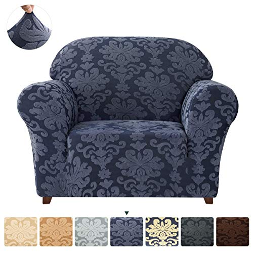 CHUN YI SofaSlipcover1-PieceElegant StretchCouch Cover, Jacquard Damask Chair Loveseat Replacement Easy Fitted Durable Furniture Protector(Small, Grayish Blue)