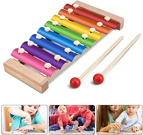 Xylophon für Kinder, Musikspielzeug Schlagzeug Schlagwerk, Spielzeug Xylophon mit Holzschlägeln, Holzspielzeug Musikinstrument für Kinder Pädagogische Entwicklung Spielzeug Geschenke 23.5x12cm