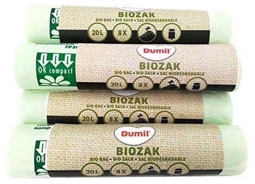 Reißfeste Bio Abfall Säcke 48 Stück 20 Liter I Dumil - biologisch abbaubare & kompostierbare Müllsäcke 45 x 50 cm
