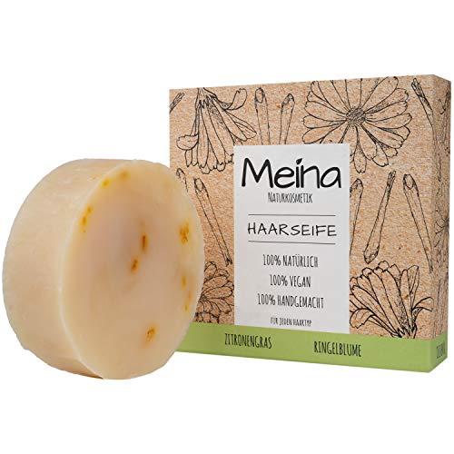 Meina - Haarseife Naturkosmetik - Bio Shampoo Bar mit Zitronengras und Ringelblume (1 x 80 g) palmölfrei, vegan festes Shampoo, Shampooseife für Männer und Frauen