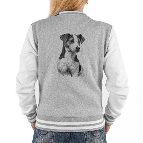 Goodman Design ® Damen College Jacke Hunderasse - Hund Jack Russel - Tolles Outfit oder Geschenk Idee mit Rassehund Motiv, Größe:L