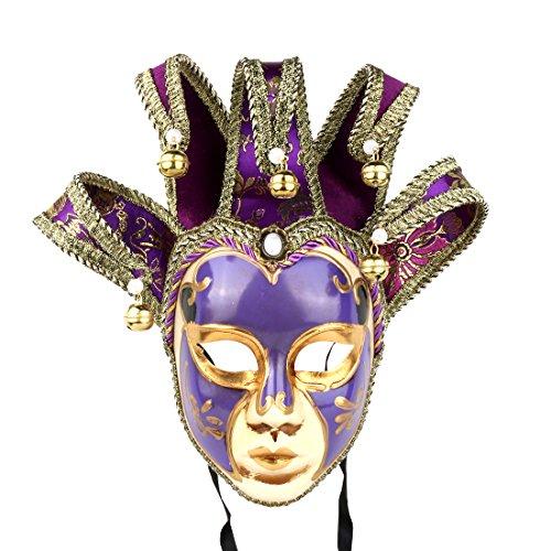 Máscara veneciana de bufón, estilo vintage para disfraz de Halloween, cosplay, para fiestas, bailes de graduación, Carnaval, bodas, decoración de pared, de Yufeng.