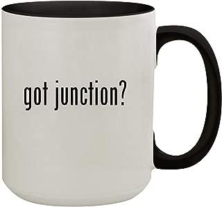 got junction? - 15oz Colored Inner & Handle Ceramic Coffee Mug, Black