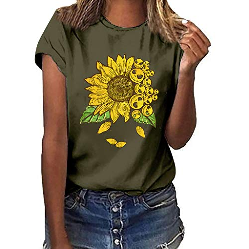 New Womens Plus Size Print Funny Sunflower Short Sleeve T-Shirt Blouse Tops Summer Casual Loose,Cap ...