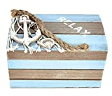 Puzzled Evian Brown & Blue Wood Jewelry Box, 4.2 x 2.5 Handcrafted Hinged Lid Sea Anchor Seashells Rope Decorations Keepsake Organizer Gift Box for Rings & Trinkets - Nautical Beach Home Decor Stash