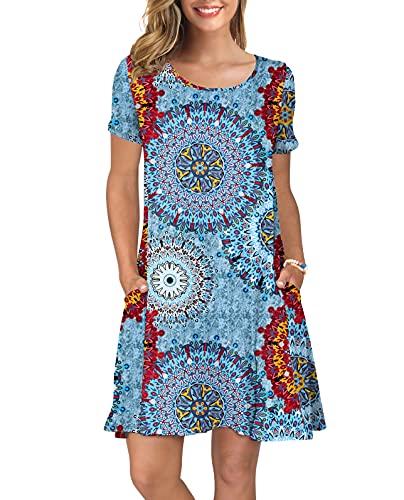 KORSIS Women's Summer Floral Dresses T Shirt Dress Flower Mix Blue S