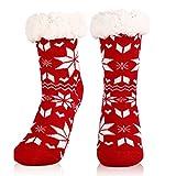 WOSTOO Calze a Pantofola Donna, Calzini Antiscivolo Calze Invernali Termiche, Morbide, Comode ed Eleganti, Regalo di Natale Perfetto, Rosso