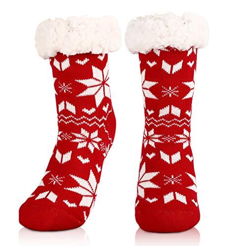 WOSTOO Calcetines Pantuflas Mujer, Calcetines Antideslizantes Calcetines Invierno C¨¢lidos, Suaves, C¨®modos y Elegantes, Perfecto Regalos de Navidad, Rojo
