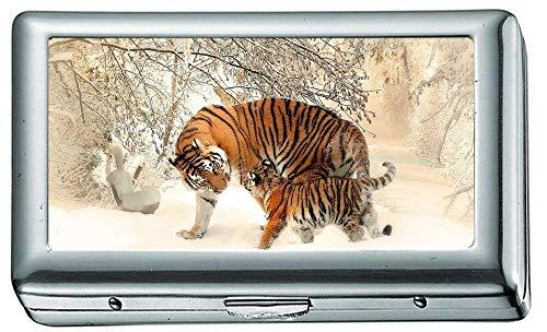 Scatola portasigarette, Tiger Baby felidae p8 Custodia portasigarette, Porta carte di credito per donna Uomo