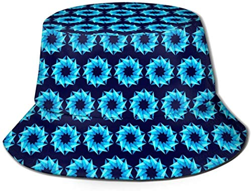 geométricos Personalidad única Estrella azul cubo estampado unisex Sombreros de pescador pesca plegable reversible de...