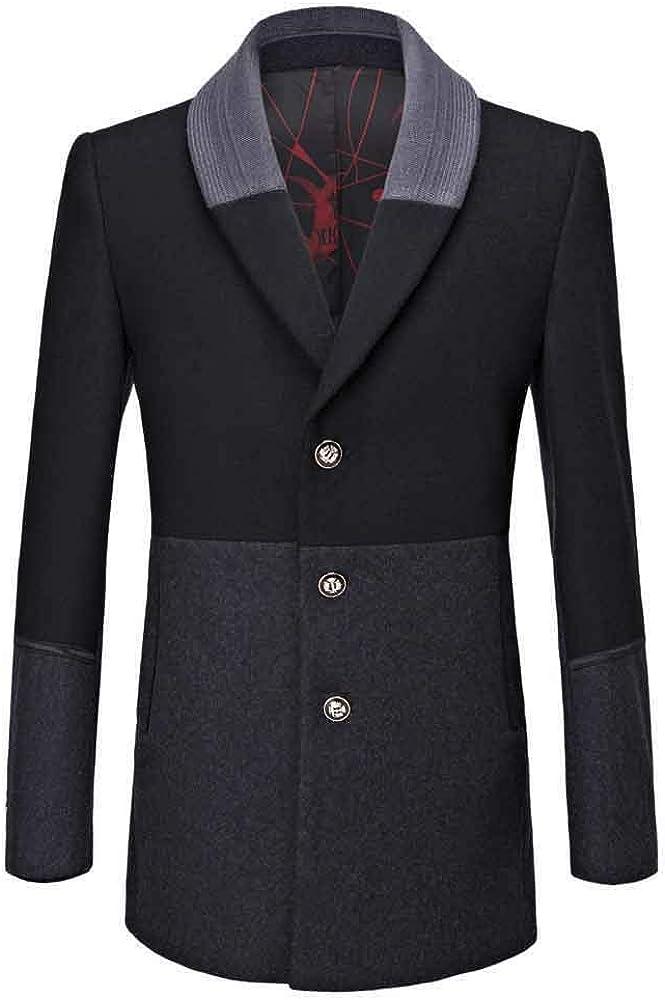 KLGDA Winter Warm Coat Men's Business Woolen Trench Turndown Collar Wool Overcoat Long Jacket