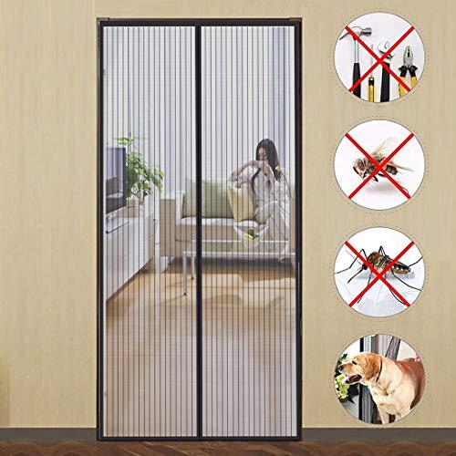 GUOGAI Cortina Mosquitera para Puertas 85x210cm(33x83inch) Mosquitera Magnética Evita el Paso de Insectos Sin Huecos para Sala de Salón Terraza, Negro A