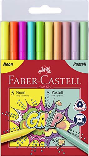 Faber-Castell 155312 - Grip Fasermaler Neon & Pastell, 10er Etui