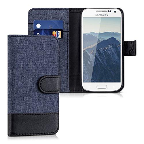 kwmobile Hülle kompatibel mit Samsung Galaxy S4 Mini - Kunstleder Wallet Case mit Kartenfächern Stand in Dunkelblau Schwarz