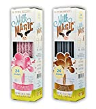 Milk Magic Chocolate and Strawberry Bundle Milk Flavoring Straw | Gluten-Free BPA free Non-GMO Low in Sugar All-natural Flavor Straws | Encourage Milk Drinking with Flavor-Filled Straws - Pack of 2