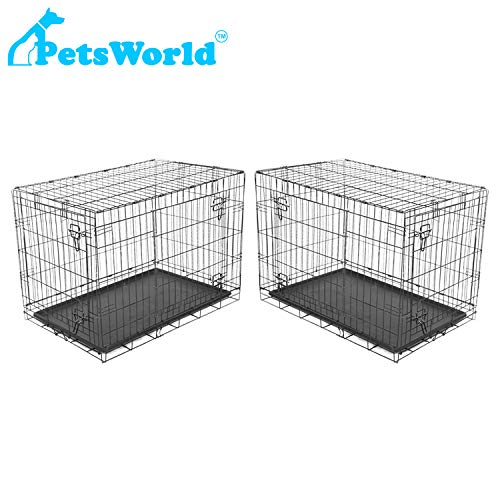 PETSWORLD Double Door Dog Crate, Set of 2 CRATES, Folding Metal Dog or Pet Crate Kennel, Size: 42 inch w/Divider Basic Crates