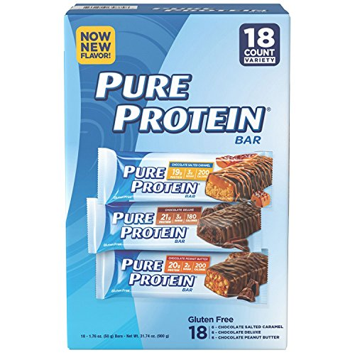 Pure Protein Bars, High Protein, Nurtritious Snacks to Support Energy, Low Sugar, Gluten Free, Variety Pack, 1.76oz, 18 Pack