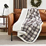 Eddie Bauer Home   Flannel Collection   Throw Blanket-Reversible Sherpa Fleece Cover, Soft & Cozy, Perfect for Bed or Couch, Edgewood Khaki