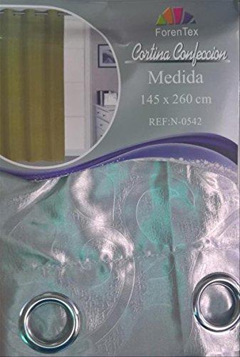 ForenTex - Cortina Opaca (N-0542), Gris, 145 x 260 cm, Curtain Aislante de Calor y Frio, reducción Ruido, Anti Polvo, Acabados ollaos Acero